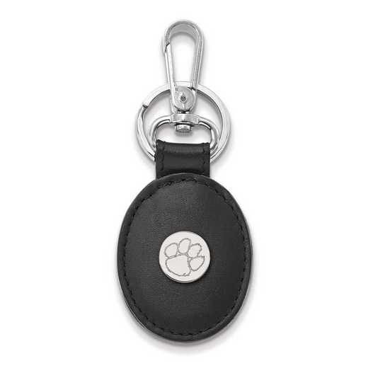 SS013CU-K1: SS LogoArt Clemson University Black Leather Oval Key Chain
