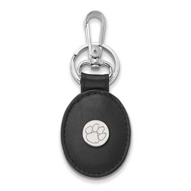 SS013CU-K1: SS LogoArt Clemson University Black Leather Oval Key Chain