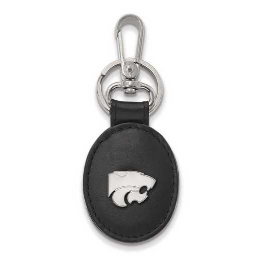 SS013KSU-K1: SS LogoArt Kansas State University Bl Leather Oval Key Chain