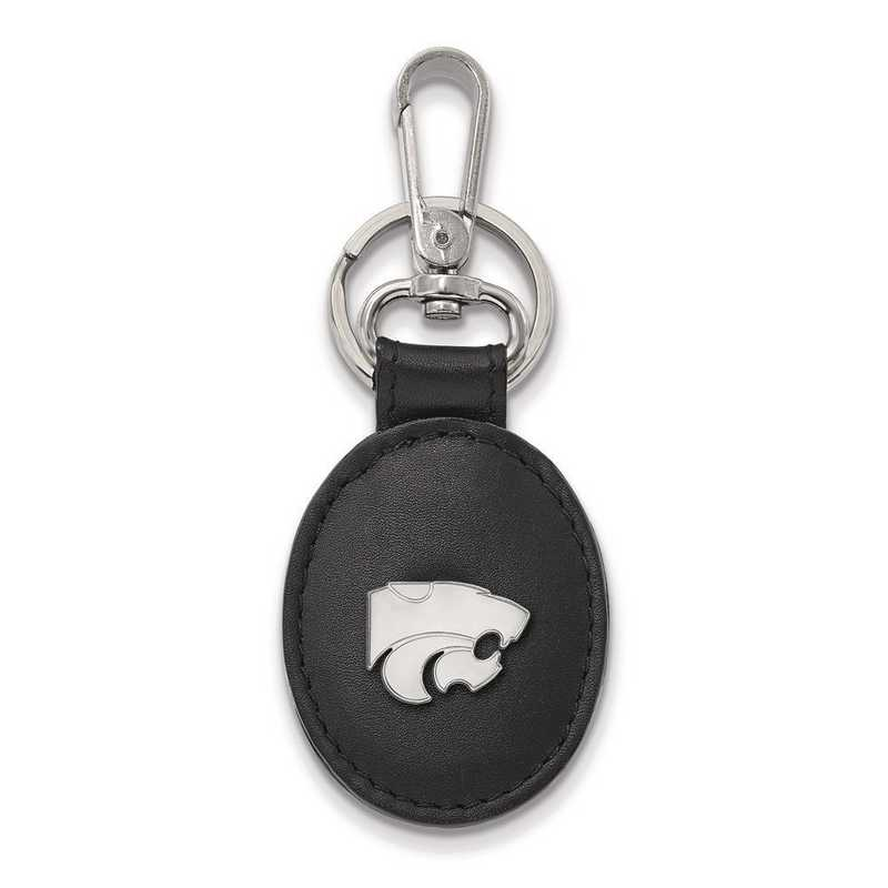 SS013KSU-K1: SS LogoArt Kansas State University Bl Leather Oval Key Chain