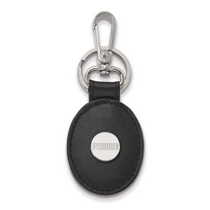 SS013PU-K1 : Sterling Silver LogoArt Purdue Black Leather Oval Key Chain