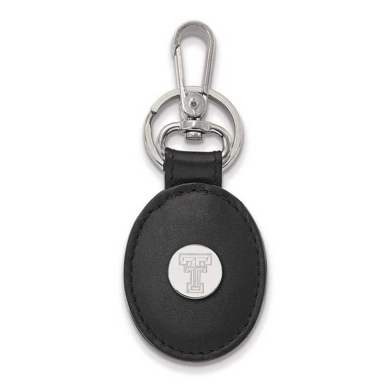 SS013TXT-K1: SS LogoArt Texas Tec University Black Leather Oval Key Chain