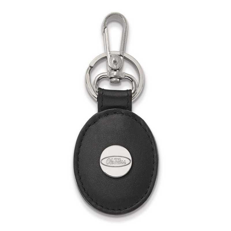 SS013UMS-K1: SS LogoArt Univ of Mississippi Black Leather Oval Key Ch