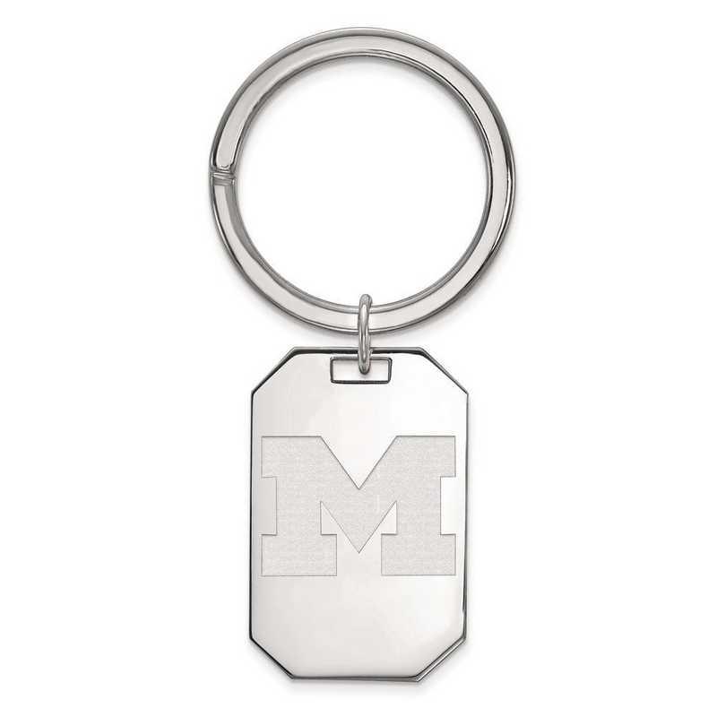 SS025UM: Sterling Silver LogoArt Michigan (Univ Of) Key Chain