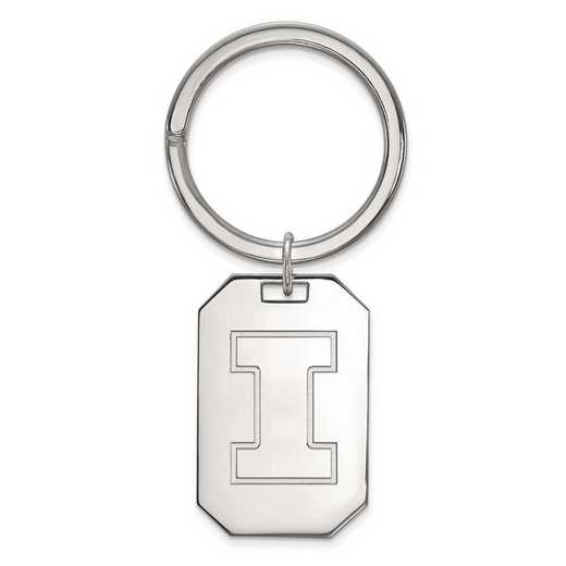 SS026UIL: Sterling Silver LogoArt University of Illinois Key Chain