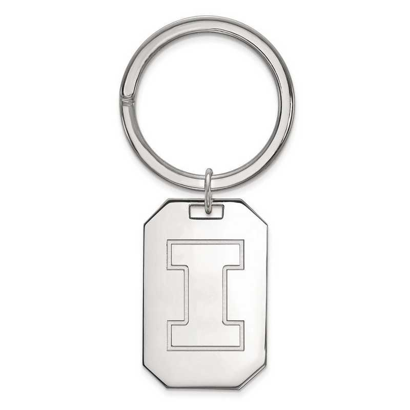 SS026UIL: Sterling Silver LogoArt University of Illinois Key Chain