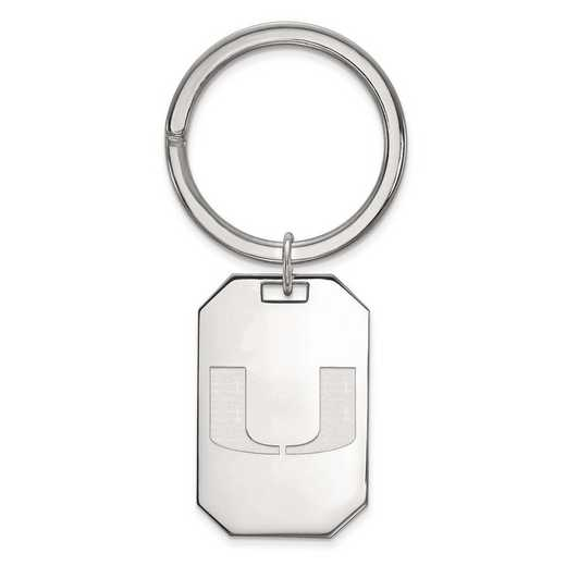SS026UMF: Sterling Silver LogoArt University of Miami Key Chain