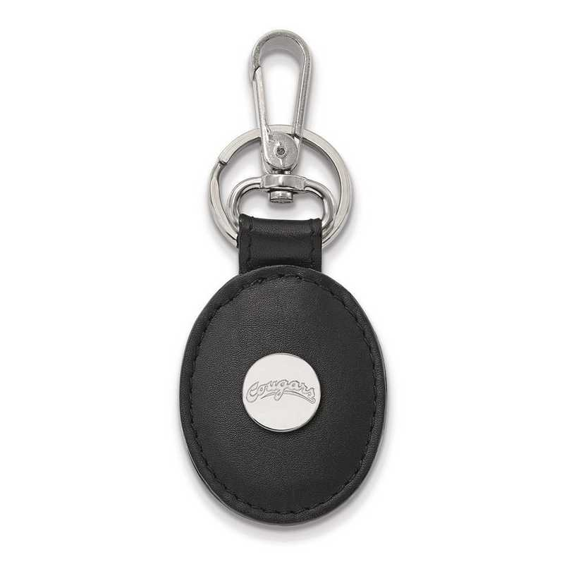 SS037WAS-K1: SS LogoArt Washington State Black Leather Oval Key Chain