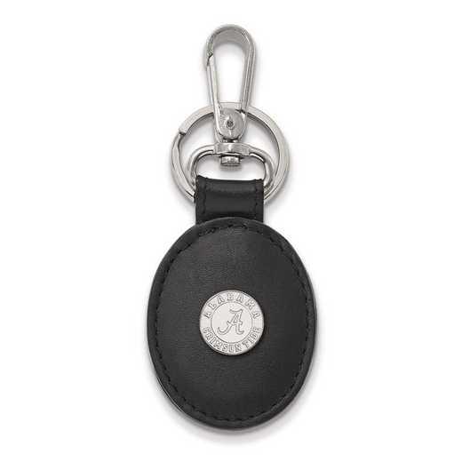 SS053UAL-K1: SS LogoArt University of Alabama Blac Leather Oval Key Chain