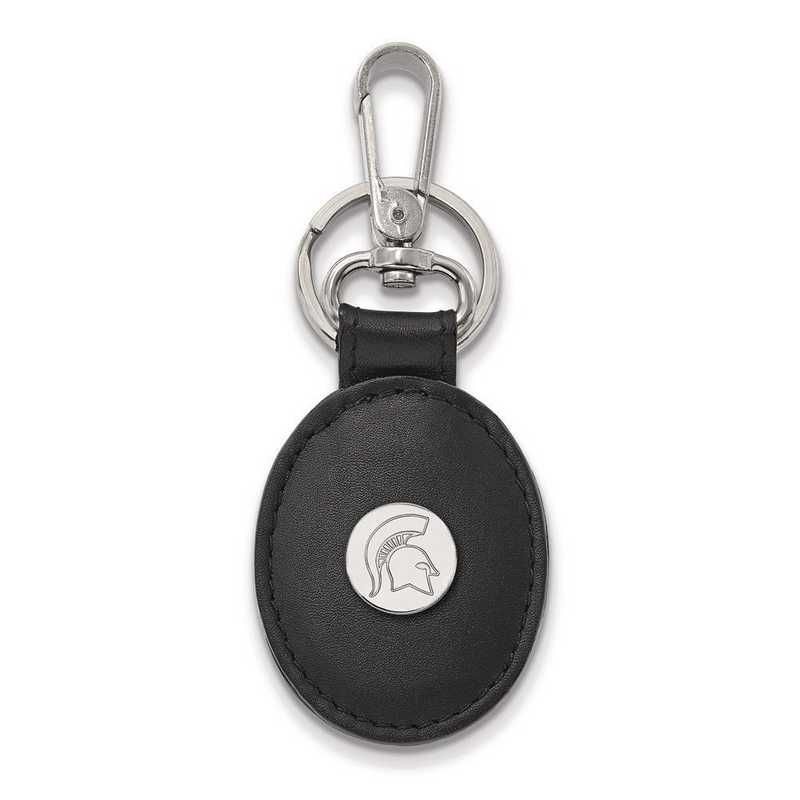 SS054MIS-K1: SS LogoArt Michigan State University Black Leather Oval Key