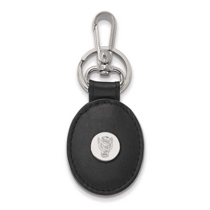 SS054NCS-K1: SS LogoArt North Carolina State Black Leather Oval Key Chain