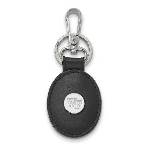 SS070WFU-K1: SS LogoArt Wake Forest Univ Black Leather Oval Key Chain