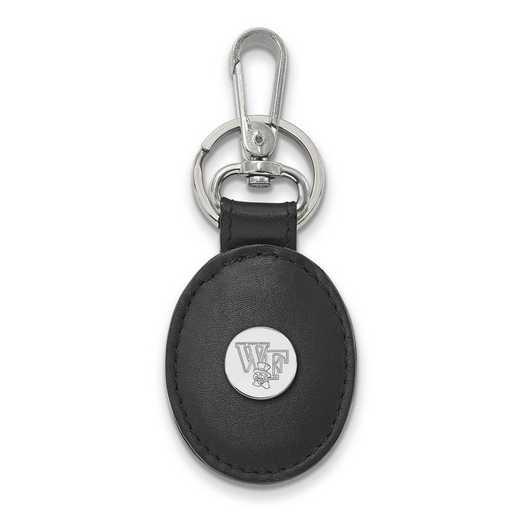 SS074WFU-K1: SS LogoArt Wake Forest Univ Black Leather Oval Key Chain