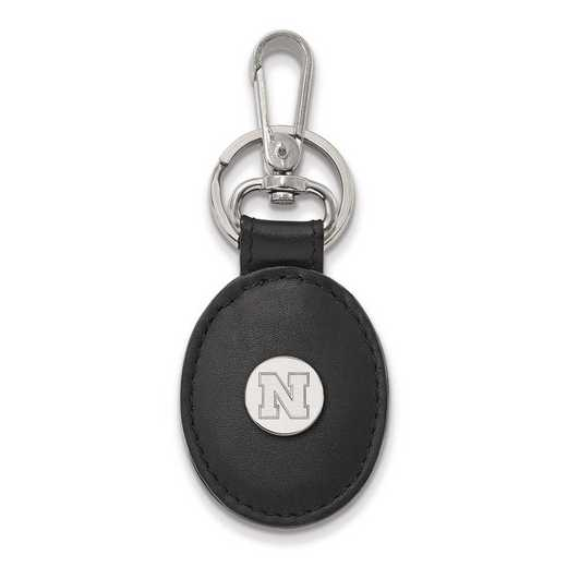 SS087UNE-K1: SS LogoArt Univ of Nebraska Black Leather Oval Key Chain