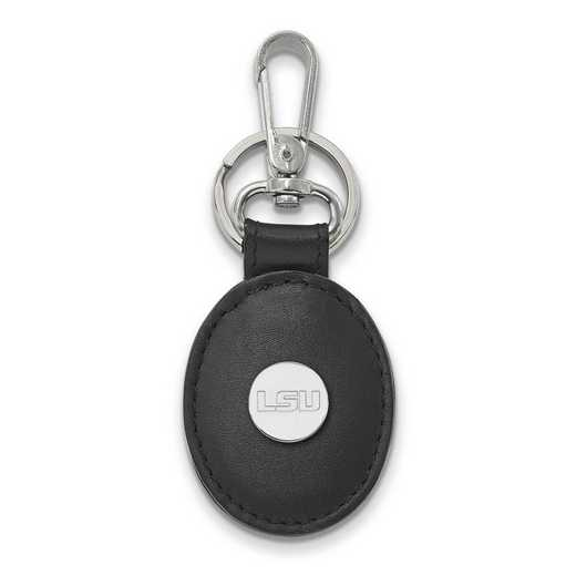 SS090LSU-K1: SS LogoArt Louisiana State University Black Leather Oval Key
