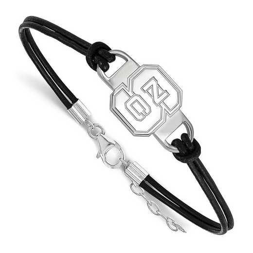 SS023NCS-7: North Carolina State University Leather Bracelet
