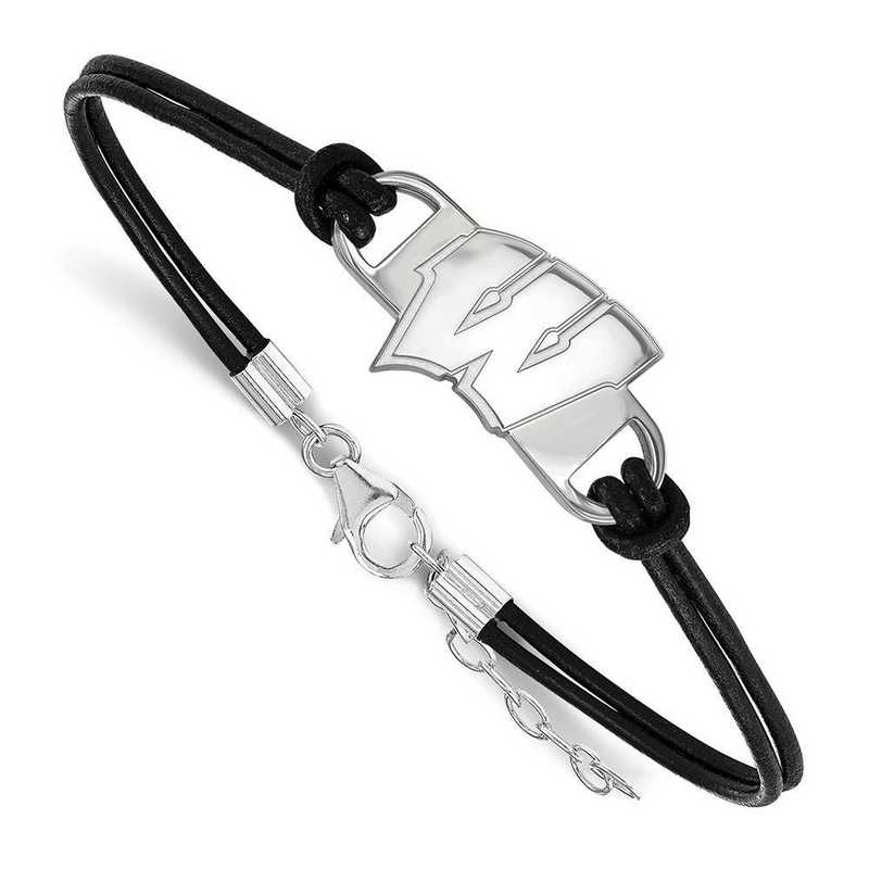 SS023UWI-7: University of Wisconsin Leather Bracelet