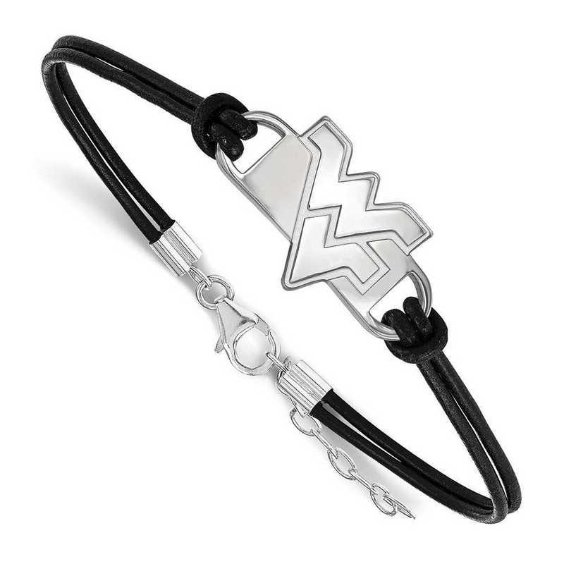 SS023WVU-7: West Virginia University Leather Bracelet