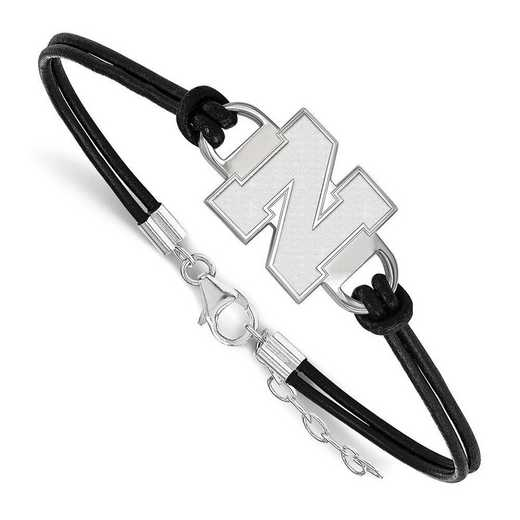 SS051UNE-7: University of Nebraska Leather Bracelet