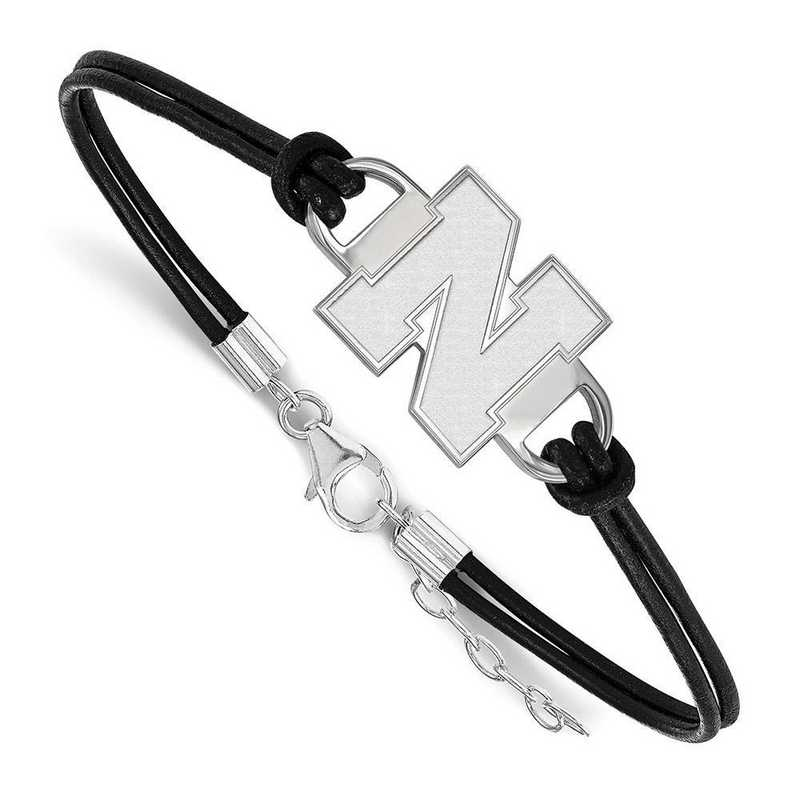 SS051UNE-7: University of Nebraska Leather Bracelet