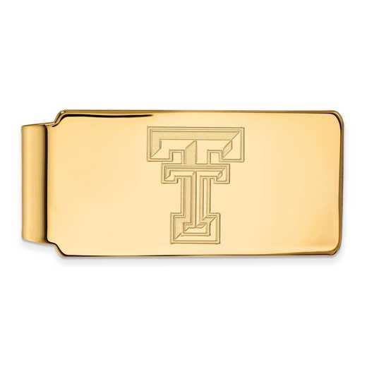 GP025TXT: 925 YGFP Texas Tech Money Clip
