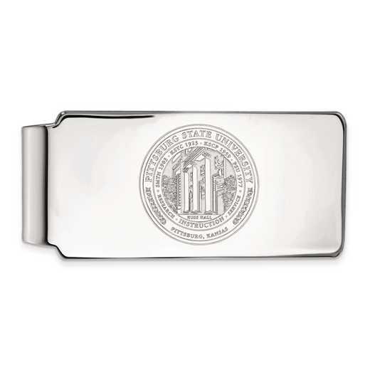 SS019PSK: SS LogoArt Pittsburg State Univ Money Clip Crest
