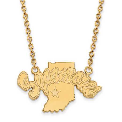 1Y009ISU-18: 10ky LogoArt Indiana State Univ Large Pendant w/Necklace