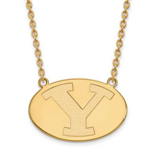 1Y010BYU-18: 10ky LogoArt Brigham Young Univ Large Pendant w/Necklace
