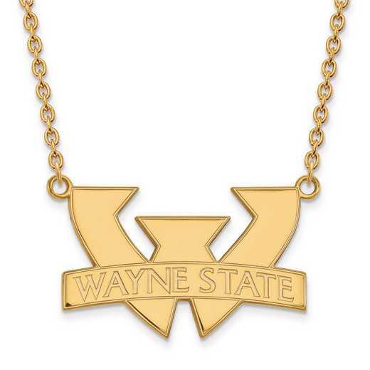 4Y010WAY-18: 14ky LogoArt Wayne State University Large Pendant w/Necklace