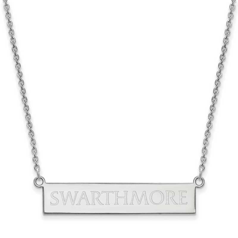 SS004SWC-18: SS LogoArt Swarthmore College SML Bar Necklace