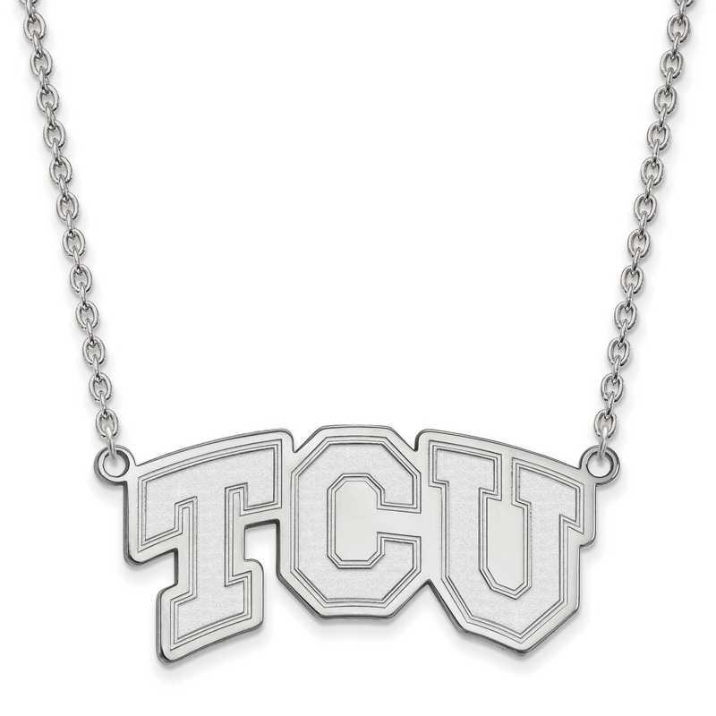 SS006TCU-18: SS LogoArt Texas Christian Univ LG Pendant w/Necklace