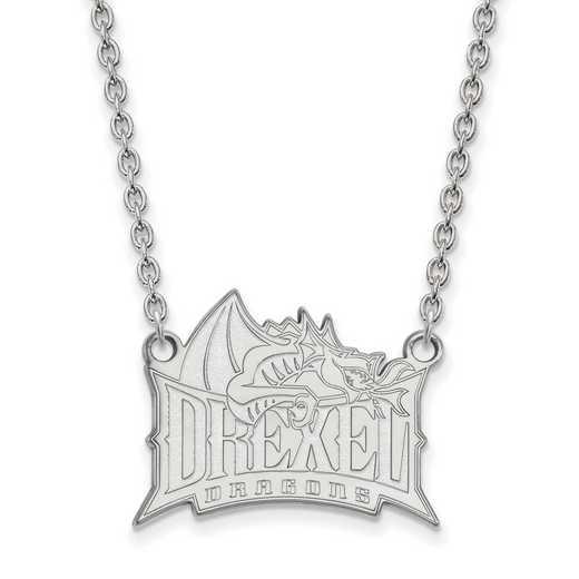 SS008DRE-18: SS LogoArt Drexel Univ LG Pendant w/Necklace