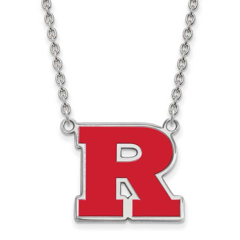 SS010RUT-18: SS LogoArt Rutgers LG Enamel Pendant w/Necklace