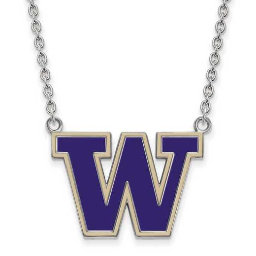 SS010UWA-18: SS LogoArt U of Washington LG Enamel Pendant w/Necklace