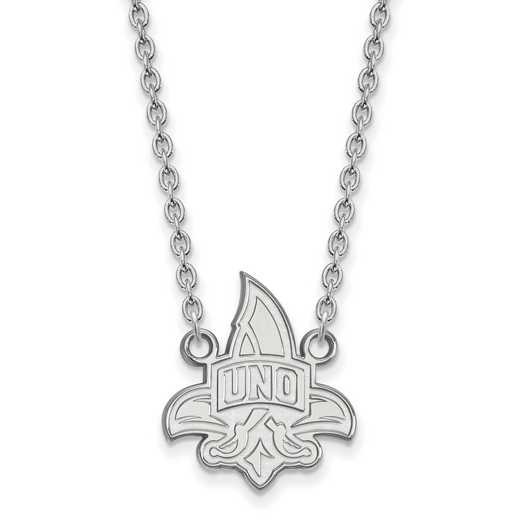 SS011UNO-18: SS LogoArt Univ of New Orleans LG Pendant w/Necklace