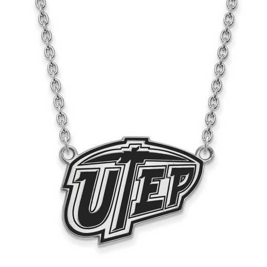 SS011UTE-18: SS LogoArt The U of Texas El Paso Lg Enl Pendant w/Necklace