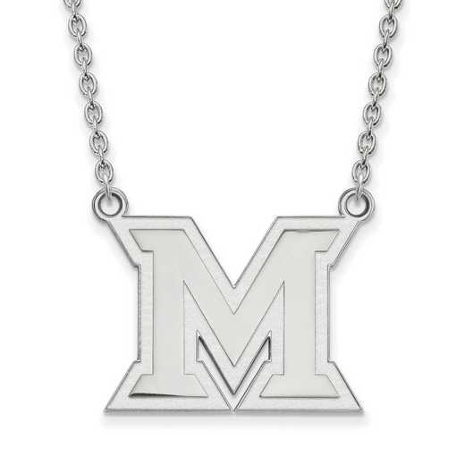 SS012MU-18: SS LogoArt Miami Univ LG Pendant w/Necklace