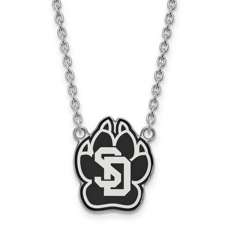 SS012USD-18: SS LogoArt U of South Dakota LG Enamel Pendant w/Necklace