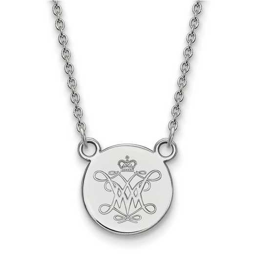 SS012WMA-18: SS LogoArt William And Mary Small Disc Pendant Necklace