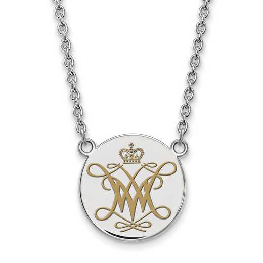SS014WMA-18: SS LogoArt William And Mary LG Enamel Disc Necklace