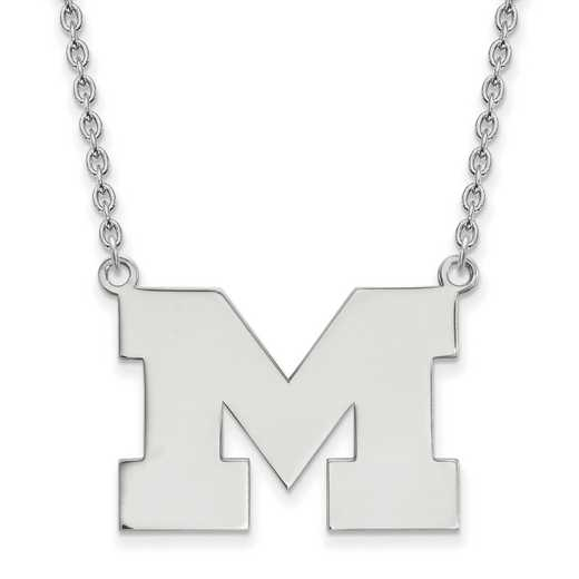 SS016UM-18: SS LogoArt Michigan (Univ Of) LG Pendant w/Necklace