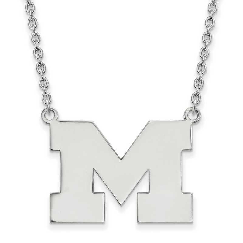 SS016UM-18: SS LogoArt Michigan (Univ Of) LG Pendant w/Necklace