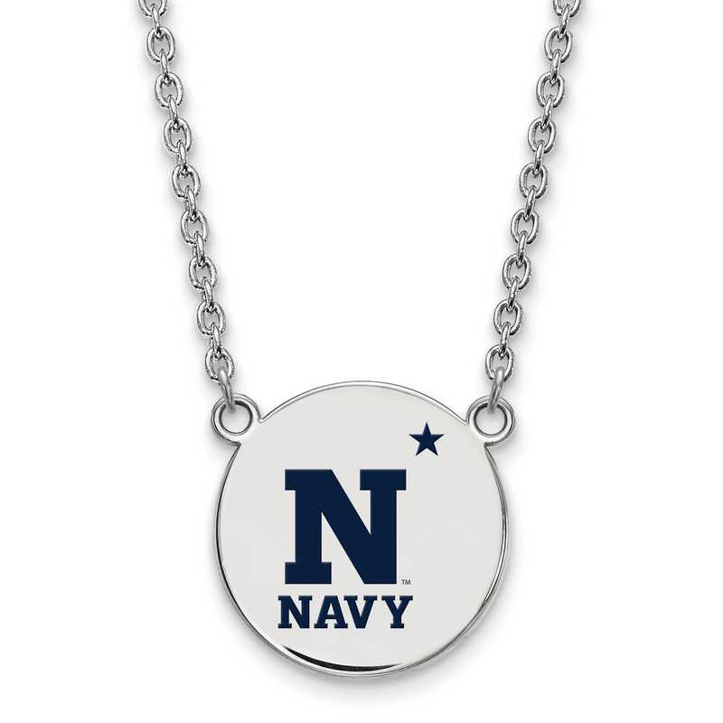 SS019USN-18: SS LogoArt Navy LG Enamel Disc Necklace