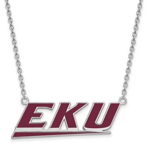 SS021EKU-18: SS LogoArt Eastern Kentucky U LG Enamel Pendant w/Necklace