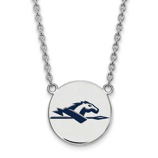 SS023LOC-18: SS LogoArt Longwood Univ LG Enamel Disc Necklace