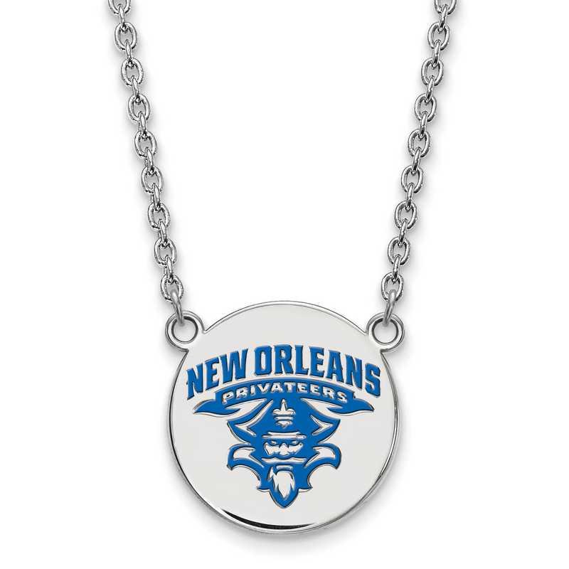 SS025UNO-18: SS LogoArt Univ of New Orleans LG Enamel Disc Necklac
