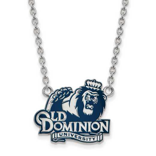 SS027ODU-18: SS LogoArt Old Dominion U LG Enamel Pendant w/Necklace