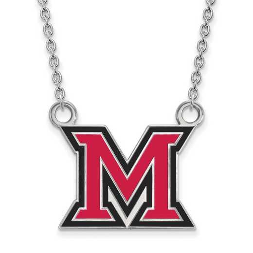 SS033MU-18: SS LogoArt Miami Univ LG Enamel Pendant w/Necklace