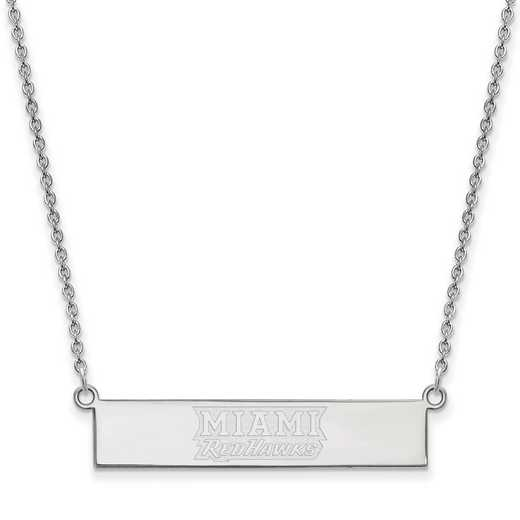 SS038MU-18: SS LogoArt Miami Univ SML Bar Necklace
