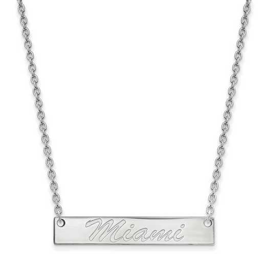 SS039MU-18: SS LogoArt Miami Univ SML Bar Necklace